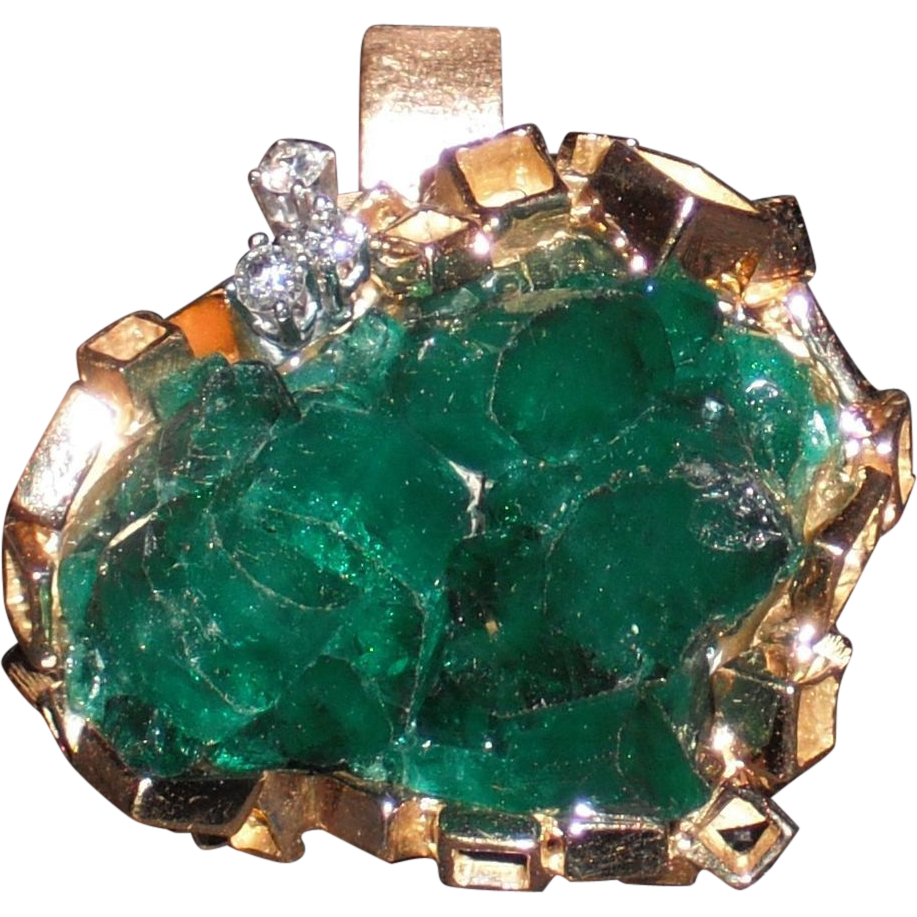 Modernist Vintage 18Kt Yellow Gold Emerald and Diamond Pendant