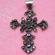 Vintage Sterling Cross with Semi-Precious Stones