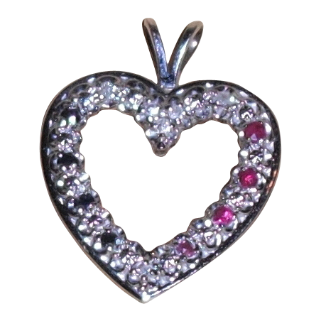 Vintage 14 Kt White Gold Heart Pendant with Red White and Blue Stones