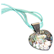 Vintage Abalone Heart Pendant with Sterling Bail