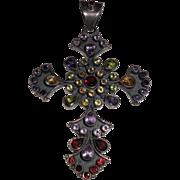 Mod Sterling Cross with Semi-Precious Stones