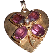 14 Kt Heart Pendant with Amethysts in Shape of Shamrock