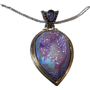 Large Vintage Sterling Tanzanite Pendant on Sterling Chains