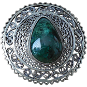 Vintage Sterling Silver 935 Eilat Cabochon Round Filigree Pin Brooch Pendant Jerusalem