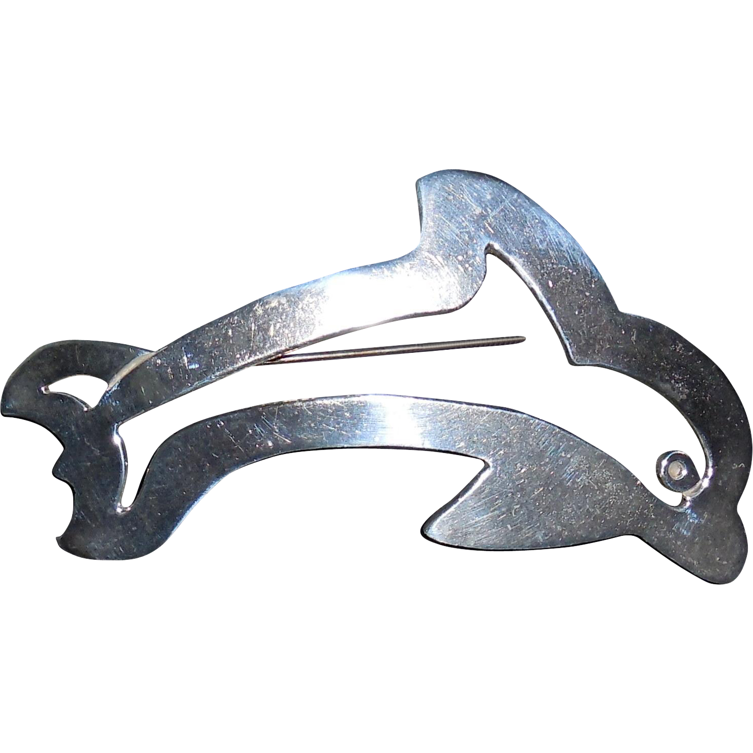 Vintage Sterling Porpoise or Dolphin Pin Brooch Pendant
