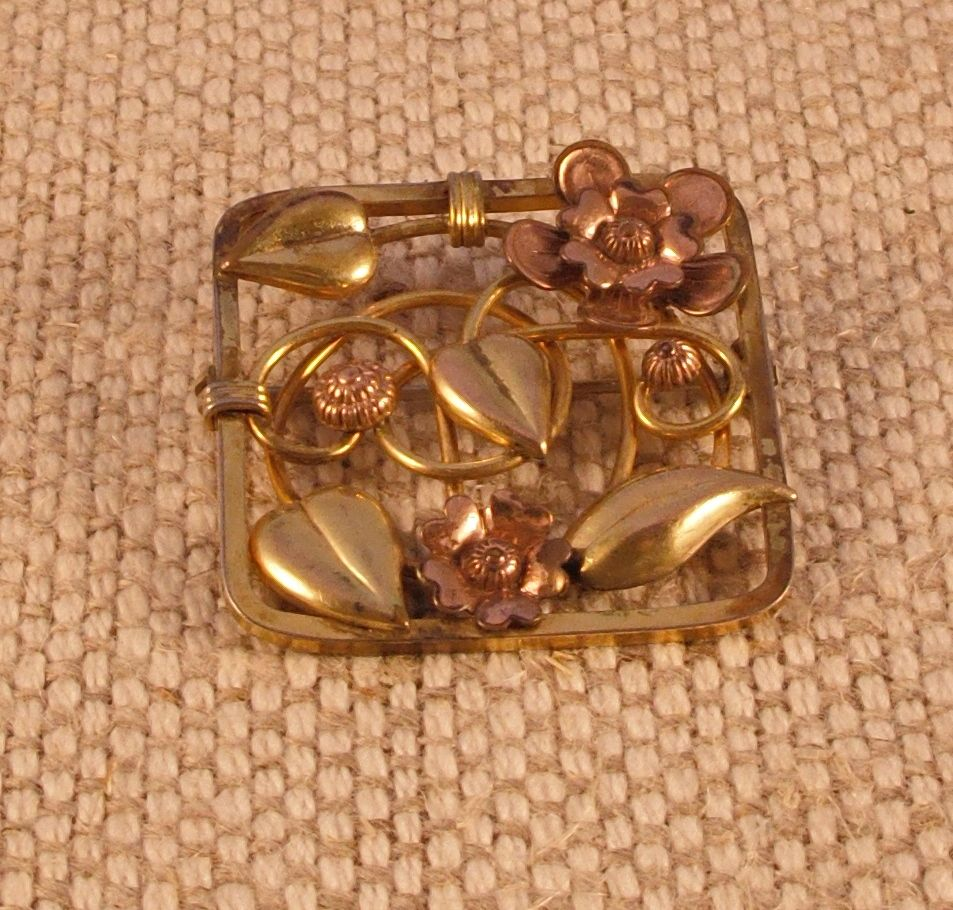Three Tone Gold Filled Vintage Pin