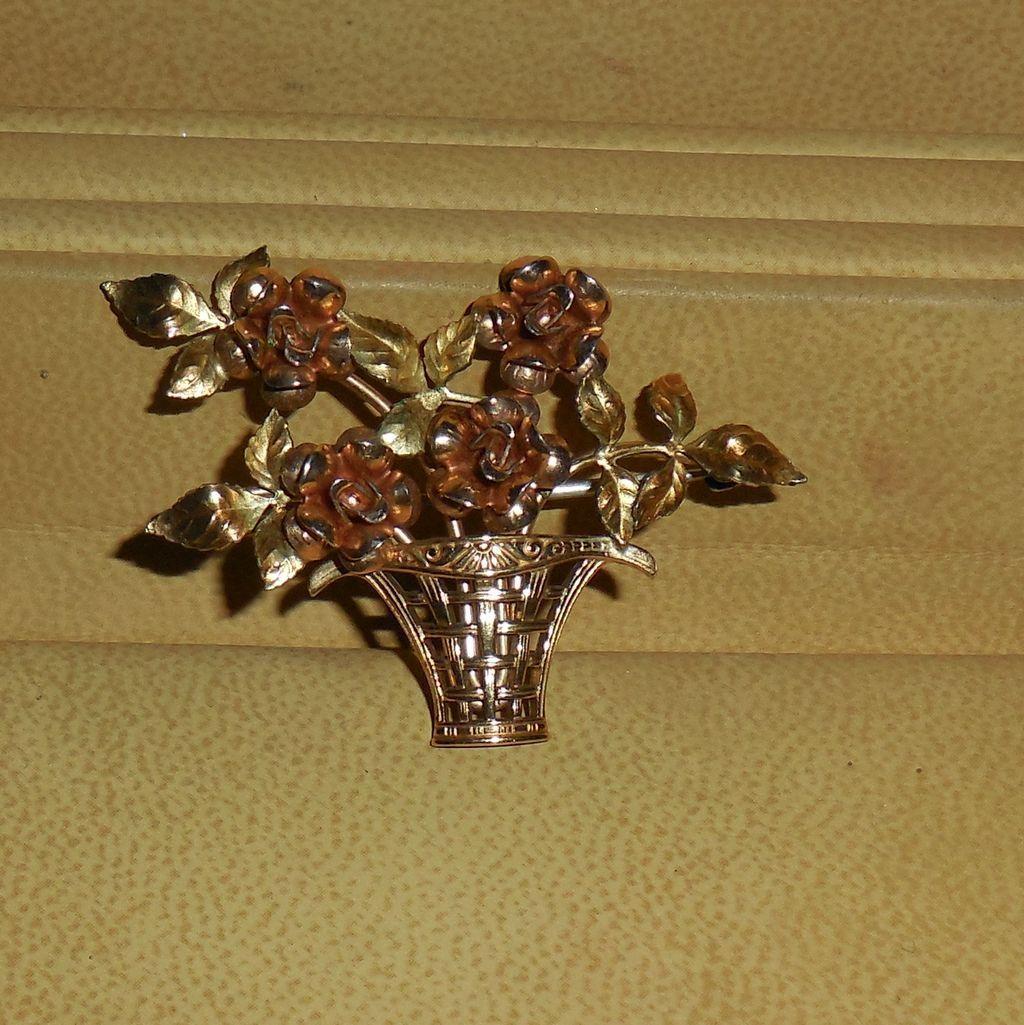 Vintage Krementz Basket of Roses Brooch Pin