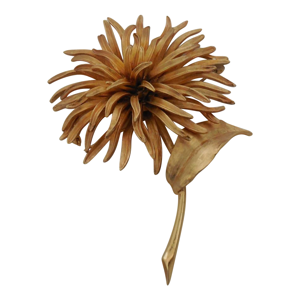 Large Vintage House of Schrager Chrysanthemum Brooch Pin  Rare