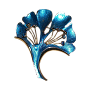 Weiss Blue Enamel Ginko Leaf Pin with Rhinestones