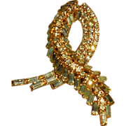 Vintage Jonquil (Light Yellow) Ribbon Shaped Rhinestone Pin Brooch