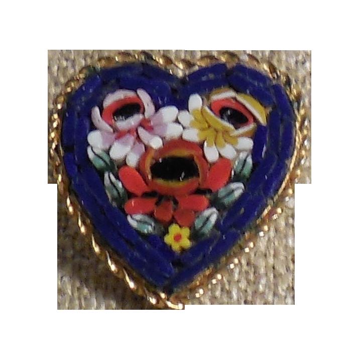 Vintage Italian Micro Mosaic Heart Shaped Pin Brooch