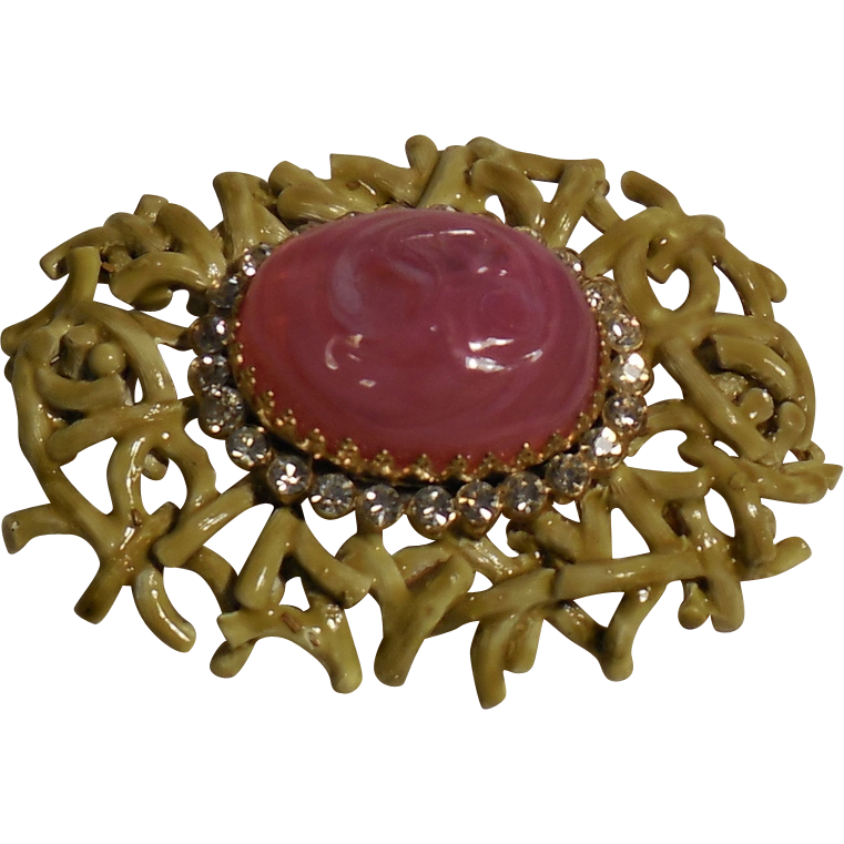 Vintage Castlecliff Pink Art Glass with Rhinestones Gold Plated with Kiwi Enamel Pin Brooch