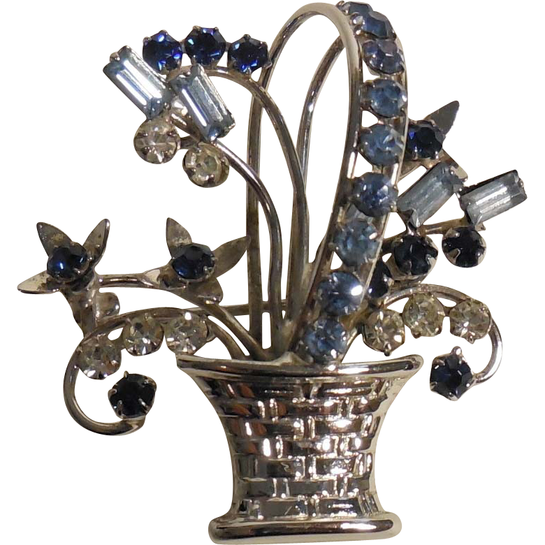 Carl-Art Sterling Rhinestone Basket Pin/Brooch