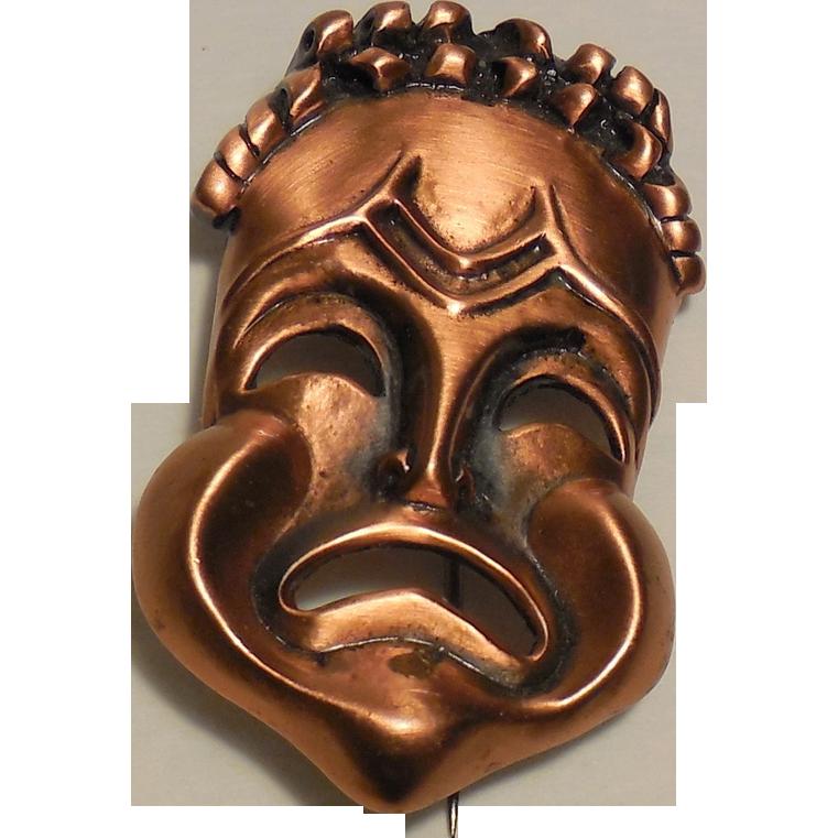 Vintage Renoir Signed Copper Tragedy Mask Pin