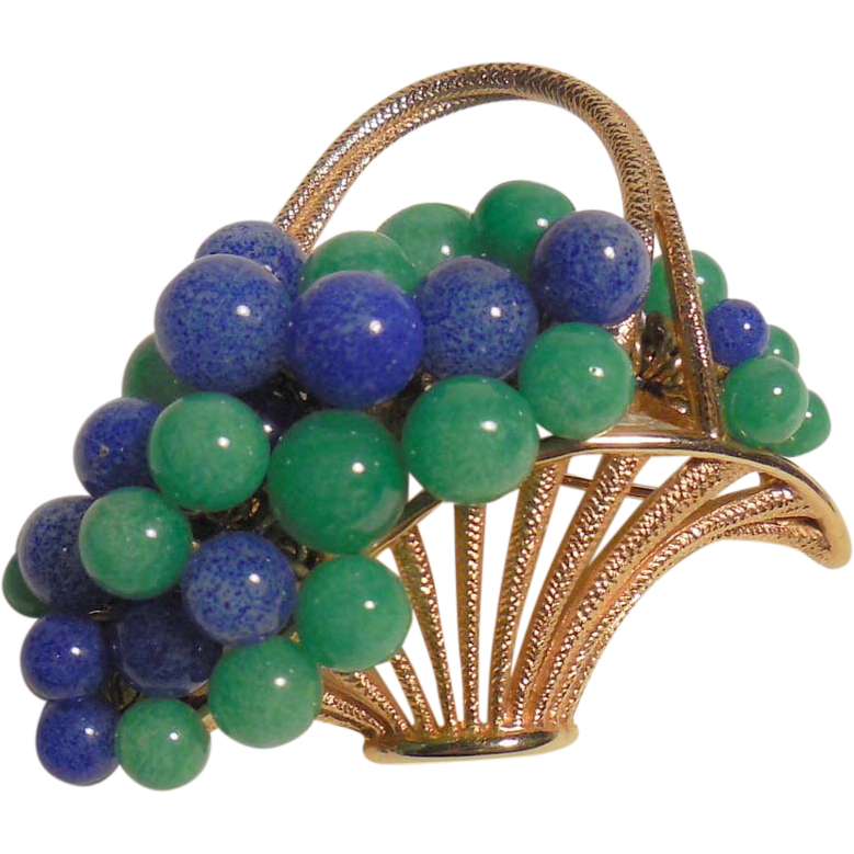 Vintage Green and Blue Art Glass Bead Grapes in Basket Brooch/Pin