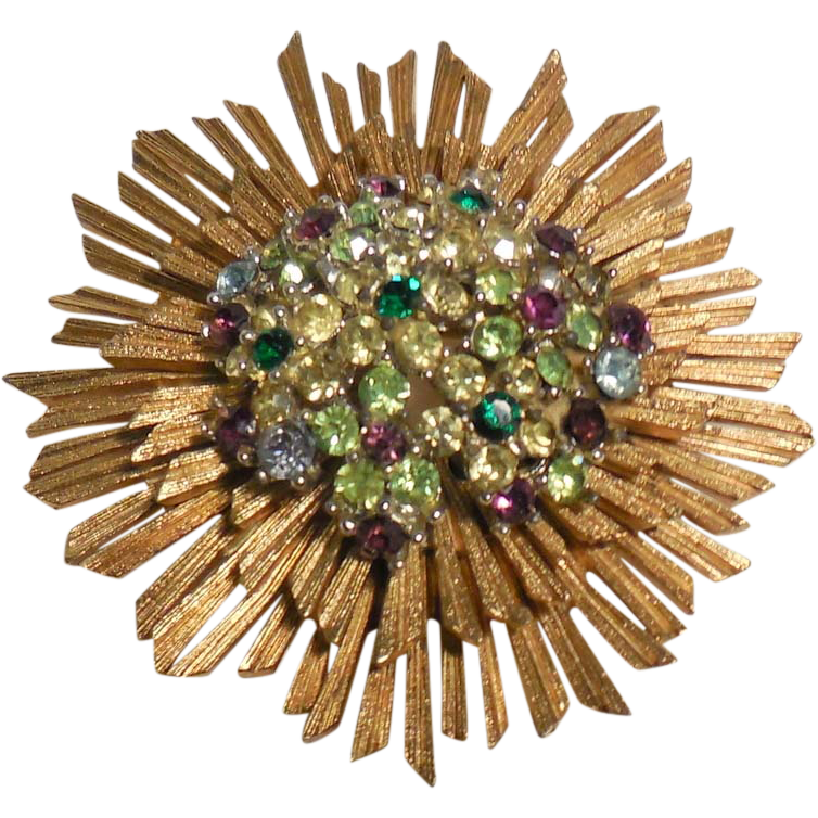 Vintage Marboux Signed Gold Plated Rhinestone Brooch/Pin