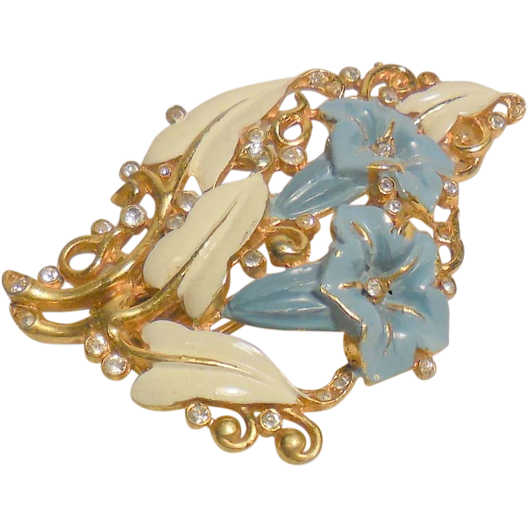 Vintage Crown Trifari Morning Glory Fur Clip Pin Brooch by Alfred Philippe