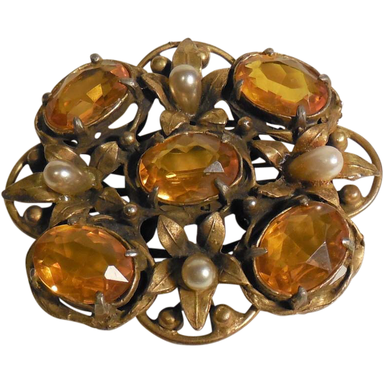 Large Faux Citrine and Faux Pearl Pin Brooch