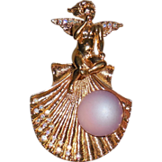 Kirks Folly Gold Plated Scallop Seashell with Angel Pin/Enhancer and Necklace.