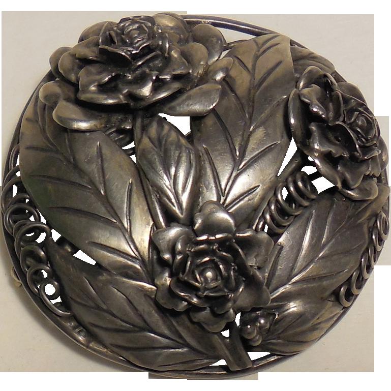 Large Hobe' Pin Brooch Sterling Silver