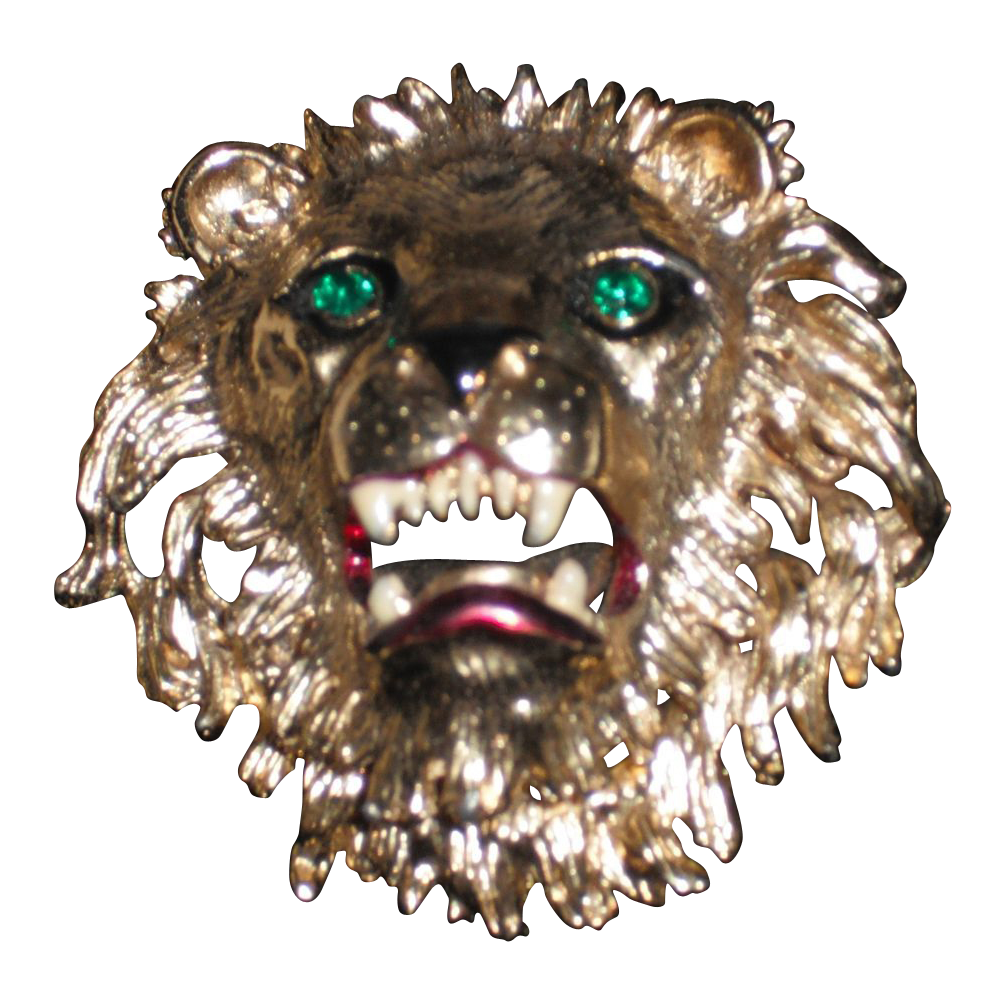 Vintage Unsigned Lion Head pin Brooch  by Sphinx Of England