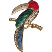 Unsigned Enameled Toucan Pin with Rhinestones