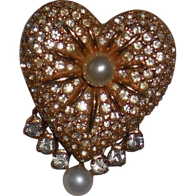 Vintage Hobe' Gold Plated Rhinestone/Faux Pearl Heart Pin Brooch with Dangles