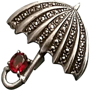 Vintage Sterling and Marcasite Umbrella Pin Brooch