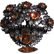 Vintage Austrian Crystal Bowl of Flowers Pin Brooch