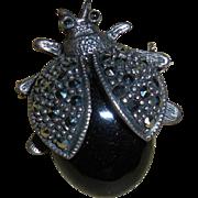 Vintage Sterling Silver Marcasite Beetle Pin