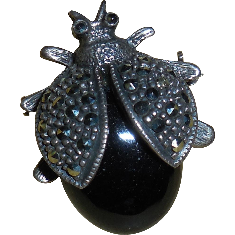 Vintage Sterling Silver Marcasite Beetle Pin