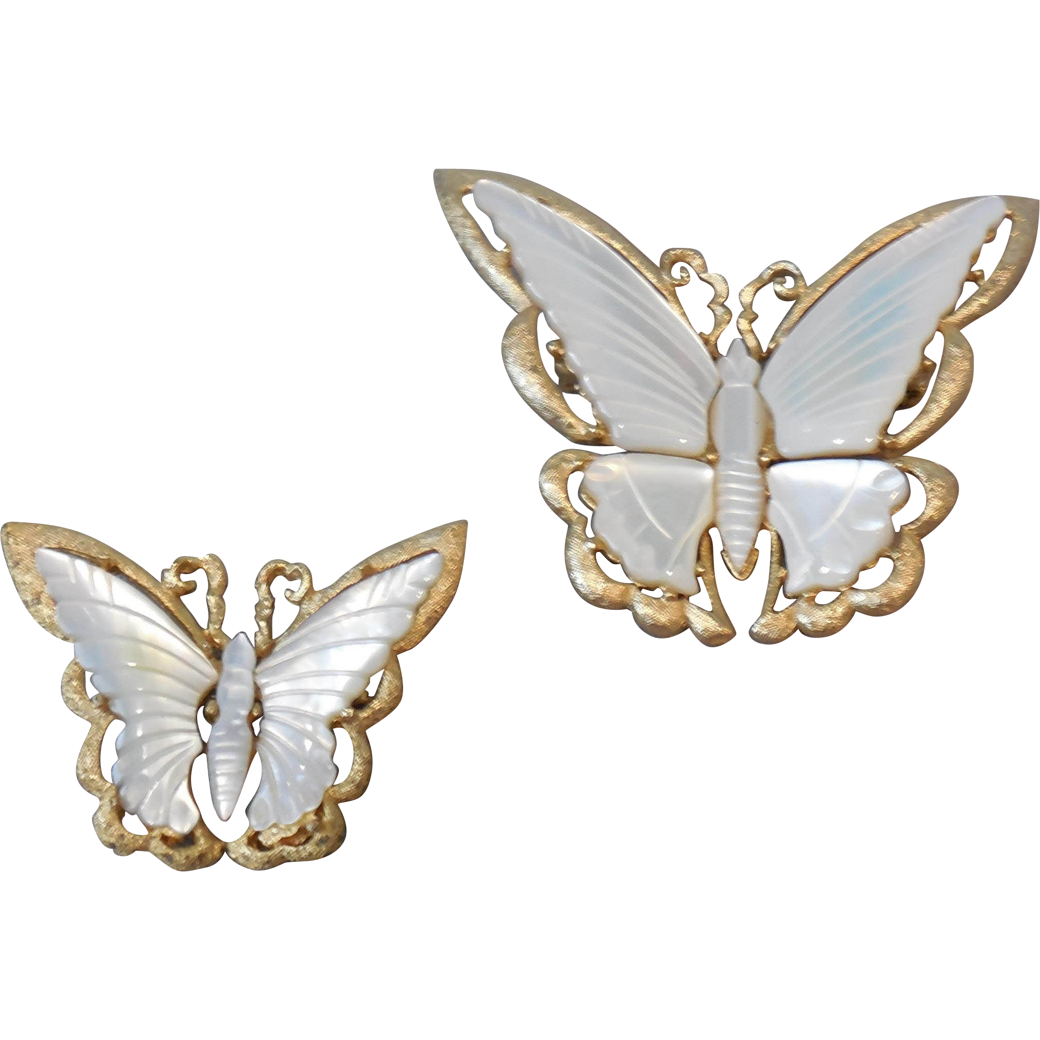 Vintage Large and Small Mother of Pearl Butterfly Pins Brooch