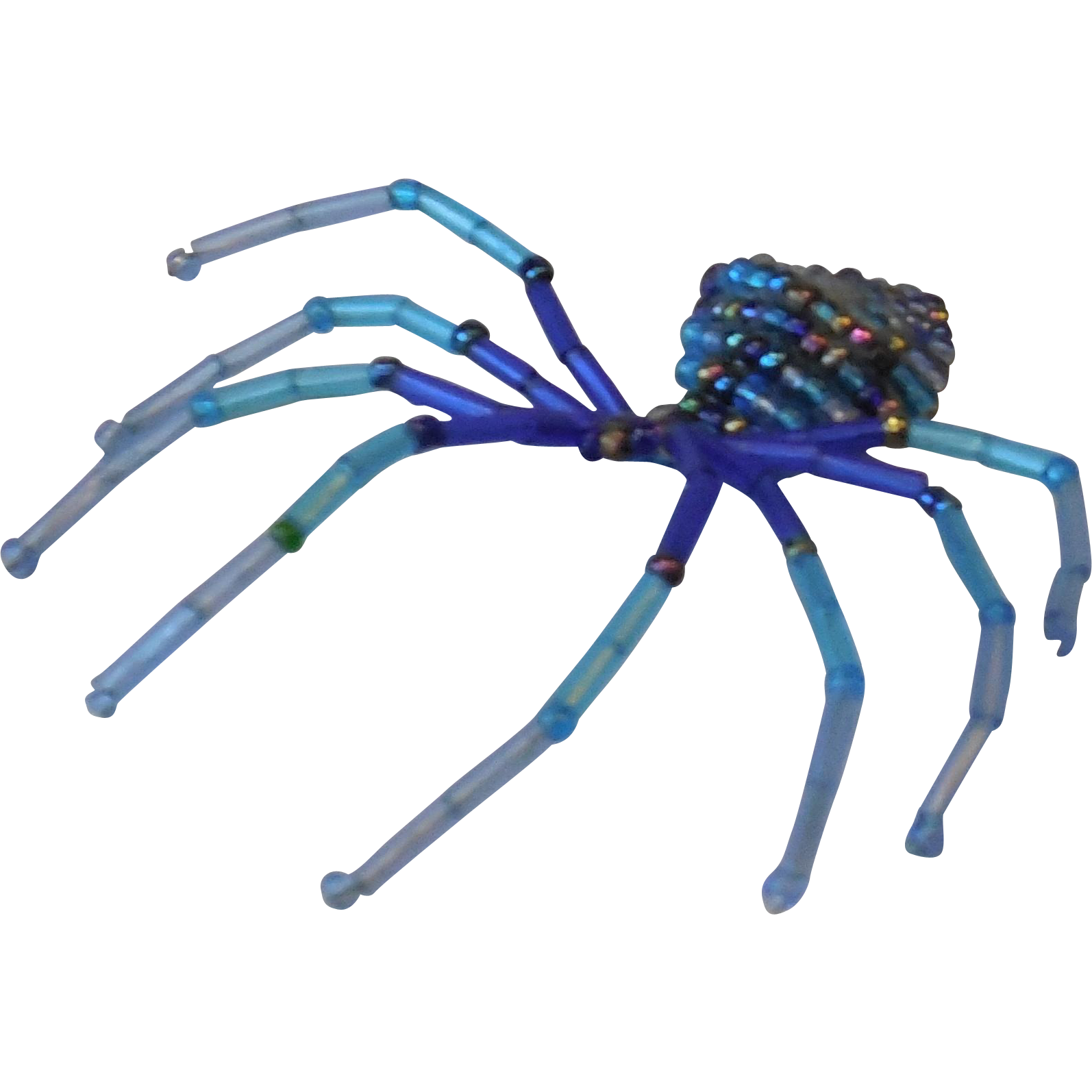 Hand-Made Blue Turquoise Beaded Spider Pin