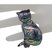 Vintage Taxco Abalone Sterling Silver Cat Pin Brooch