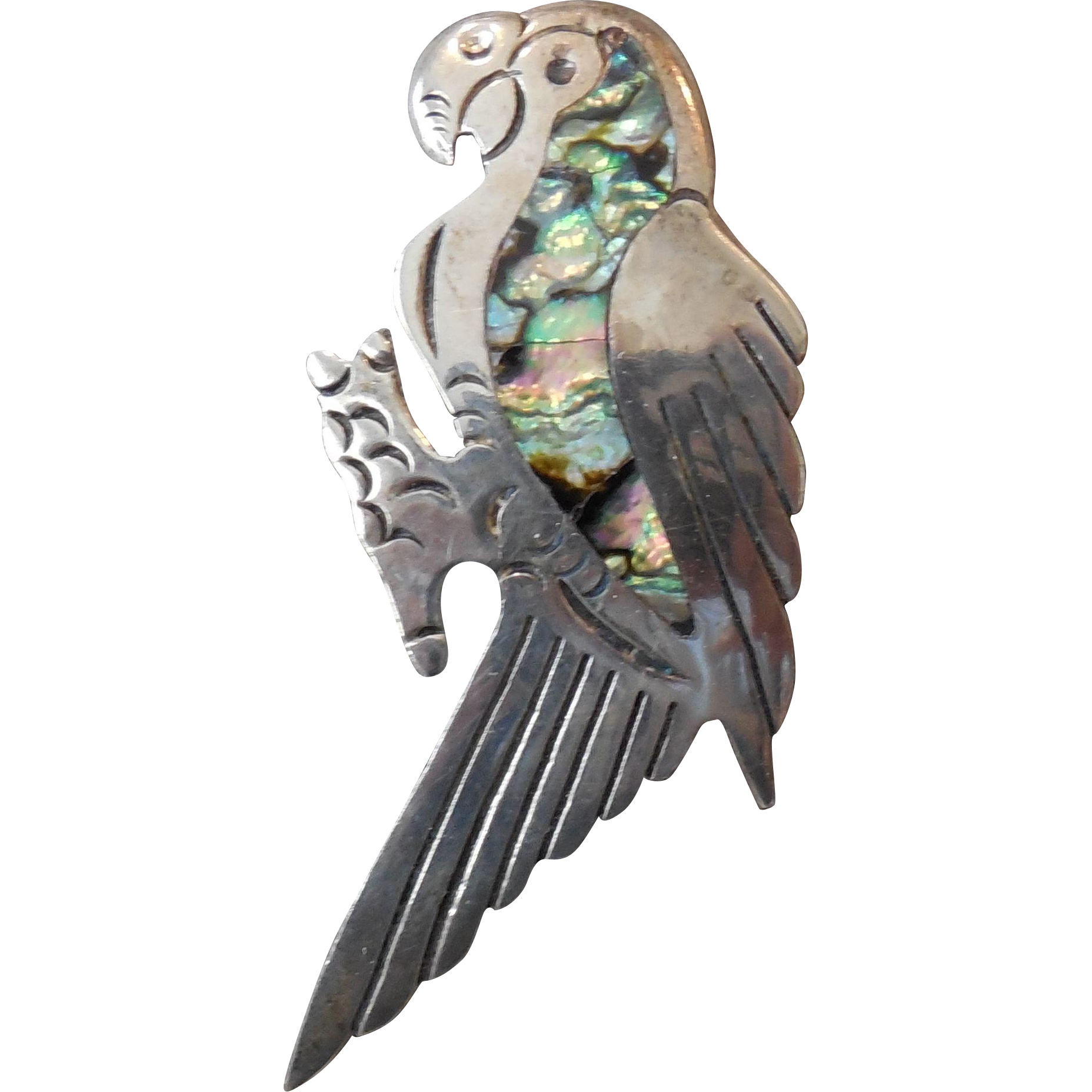 Vintage Mexico Sterling Silver Abalone Parrot Pin Brooch