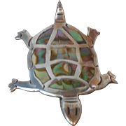 Vintage Mexican Sterling Silver and Abalone Shell Turtle Brooch Pin