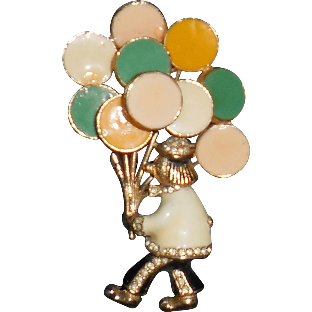 Ciner Balloon Man Clown Pin Brooch