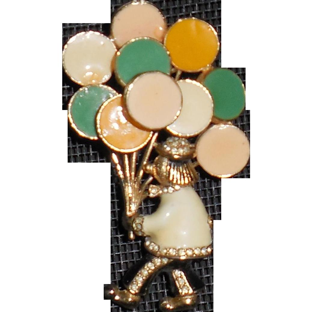 Ciner Balloon Man Clown Pin Brooch