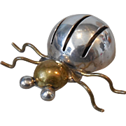Vintage Sterling and Brass Bug Pin Brooch