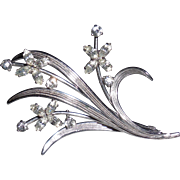 Krementz Dainty Floral Silver Plated Pin Brooch with Austrian Crystal Rhinestones