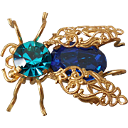 Austrian Crystal Bug Pin Brooch