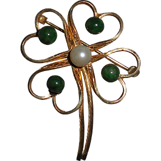 Winard Gold Filled 4 Leaf Clover with Pearl and Jade Brooch  Pin