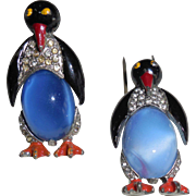 Vintage Figural Jelly Belly Penguin Fur Clip Pin Brooch - pair