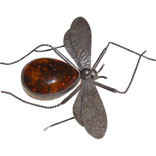 Baltic Amber Sterling Silver Mosquito Bug Brooch Pin