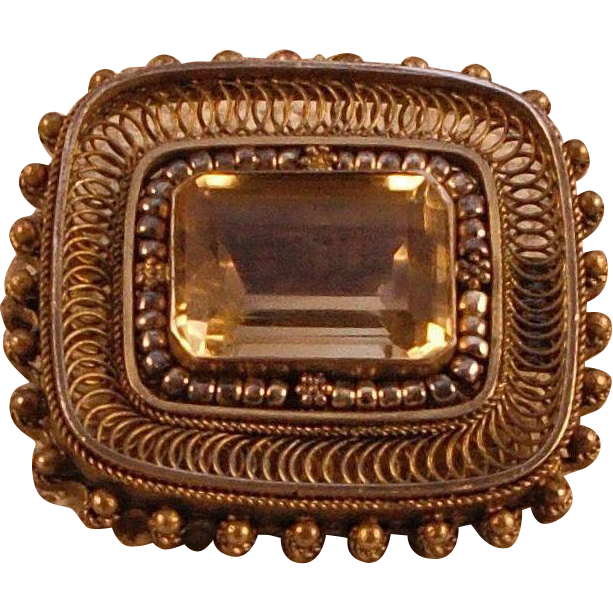Vintage Sterling Gold Wash Smoky Quartz Pin/Pendant – Made in Israel