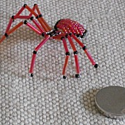 Red/Black Beaded Spider Pin