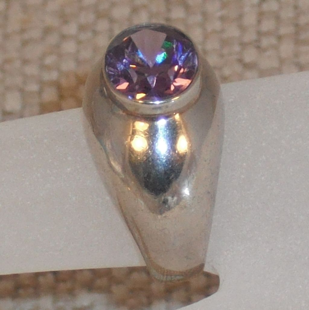 Vintage Amethyst Quartz Sterling Ring size 6