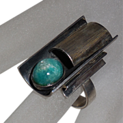 Sterling Ring with Turquoise Colored Stone size 6.5