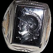 Vintage Sterling Silver Ring Hematite Intaglio Warrior size 7.25