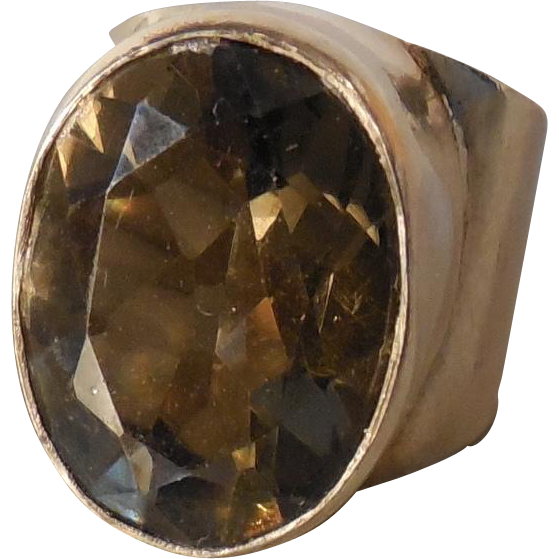 Vintage Smokey Quartz Sterling Silver Ring size 5.5
